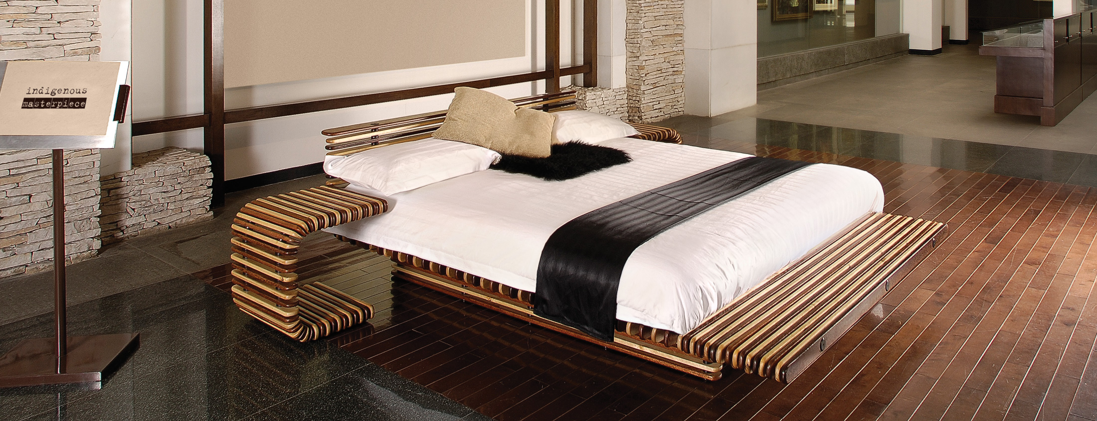 Luxor Bed Pacific Green Furniture Exotic Palmwood
